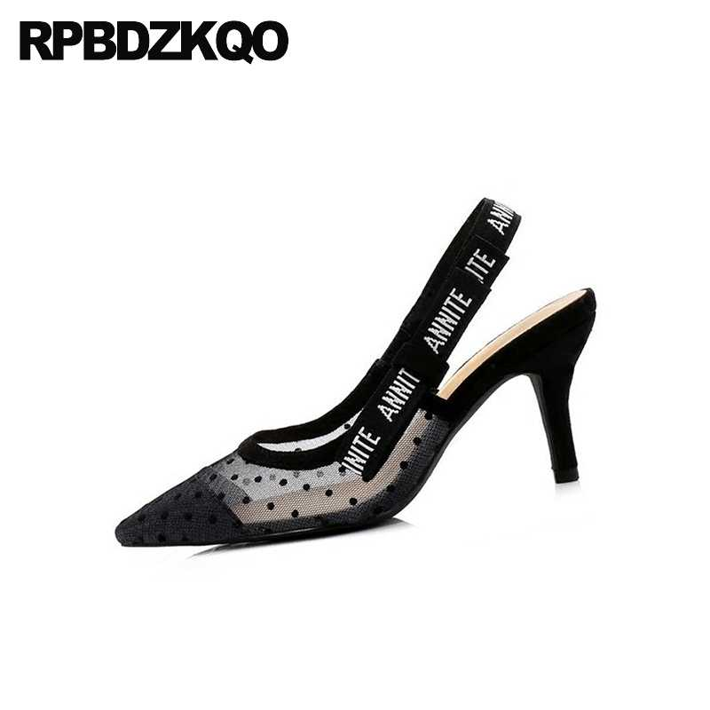 scarpin bow pumps mesh high heels black