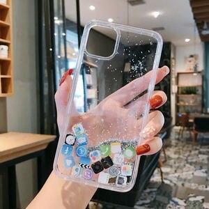 Image 4 - Custodia per telefono Quicksand dinamica di lusso per iPhone 11 12 Mini Pro Max XS Max X XR 7 8 Plus Cover posteriore rigida per Pc con Glitter per cartoni animati