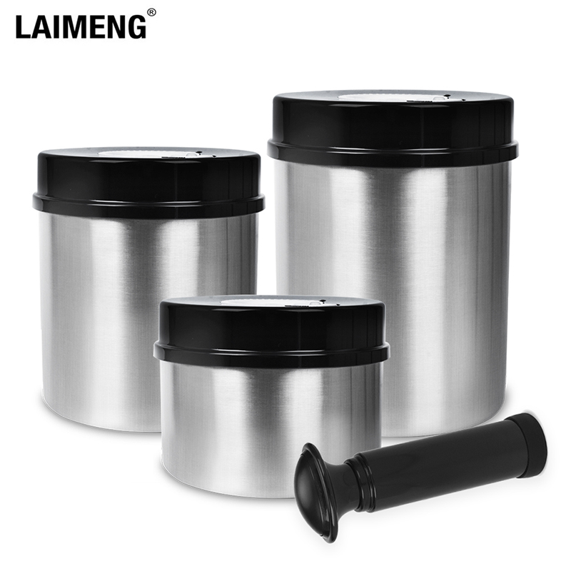 Laimeng 304 Stainless Steel Canister Storage Container Sets For Food Storage Vacuum Container 1300ML+1000ML+700ML S165BK