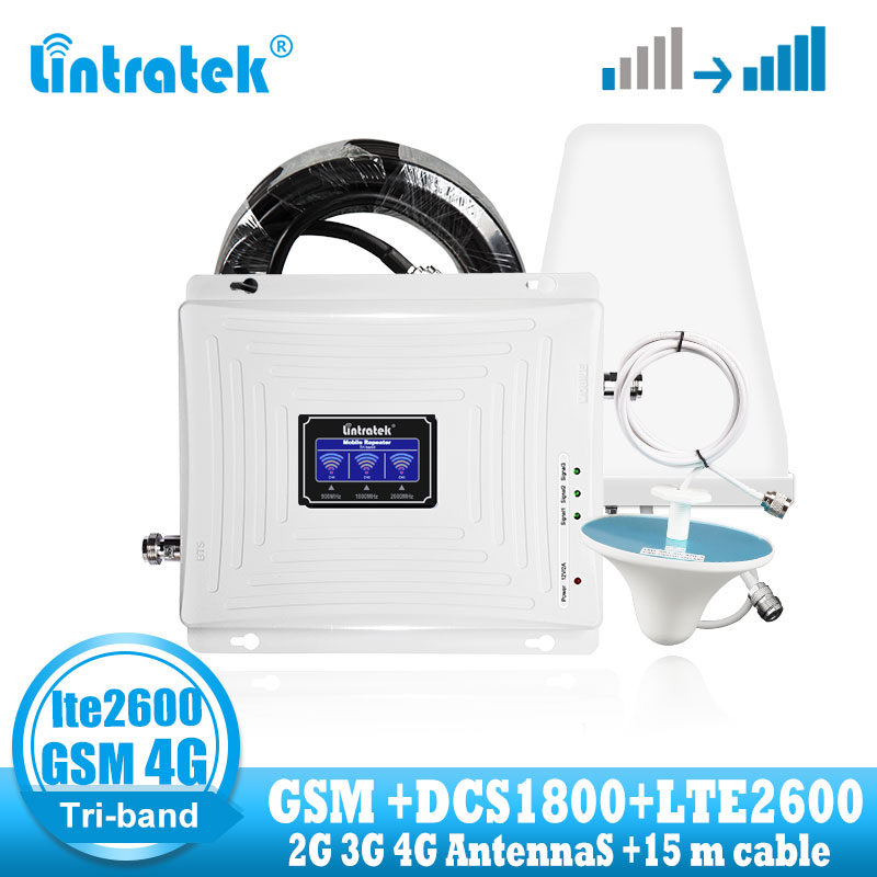 Lintratek LTE 2600 4G Signal Booster GSM 900 DCS 1800 LTE 2600mhz 4G Cellular Signal Booster Repeater Communication Amplifier