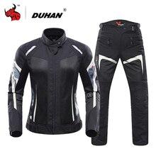 Duhan Rivestimento Delle Donne Del Motociclo di Estate in Mesh Traspirante Giacca Moto Equipaggiamento Protettivo Moto Tuta Moto Abbigliamento Set Black