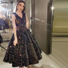 Indigo Blauw Goud V hals Luxe Avondjurken 2020 Mouwloze Lovertjes Sexy Enkellange Formele Gowns Serene Hill HA2154