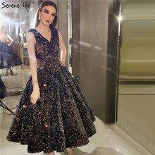 Вечерние платья цвета индиго с V образным вырезом, роскошные сексуальные платья без рукавов, с блестками, длиной до щиколотки, 2020, Serene Hill, HA2154