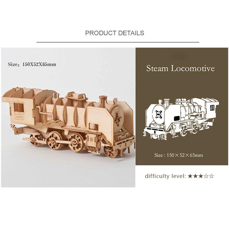 3D Puzzle En Bois pour enfant DIY Modèle De Vapeur Locomotive Bureau Artisanat Kits 4