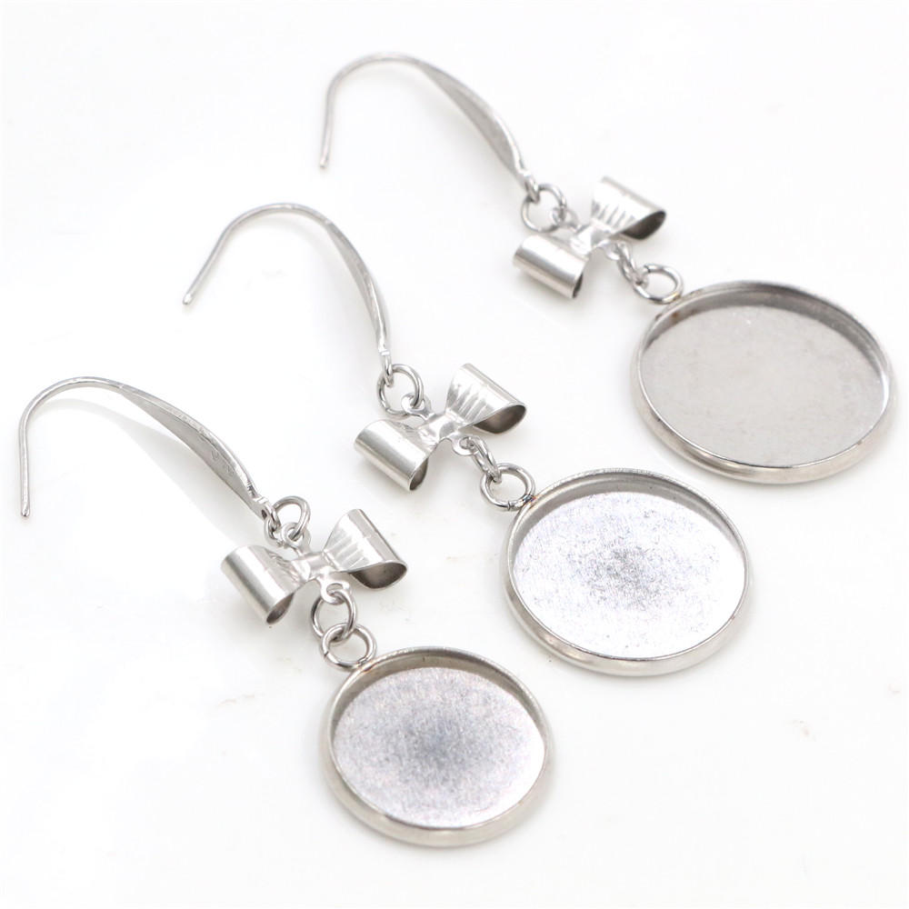( No Fade ) 14/16/18mm 10pcs/lots Stainless Steel Handmade Style Lever Back Earrings Blank/Base,Dangle Earring Setting