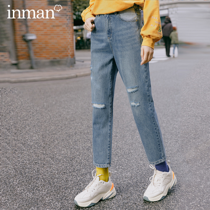 INMAN 2020 Spring New Arrival Pure Cotton High Waist Slimmed Distressed Hole Fashion Jeans