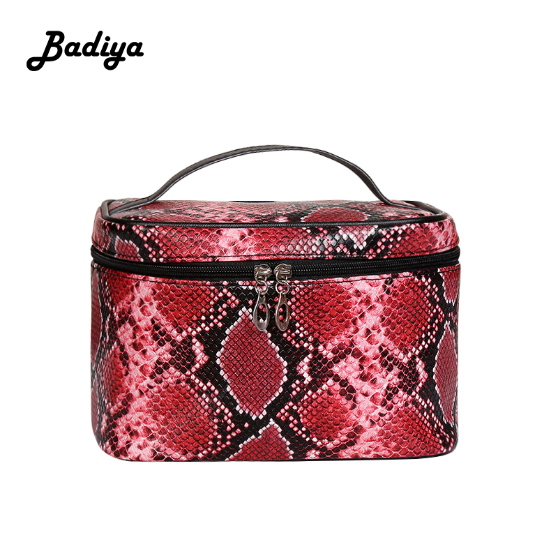 Vintage Women Cosmetic Case Serpentine PU Leather Travel Beauty Case Portable Wash Cosmetic Bag Organizer Toiletry Makeup Bags