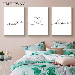 Black White Sweet Dream Canvas Poster Text Quotes Print Nordic Minimalist Wall Art Painting Modern Bedroom Decoration Picture