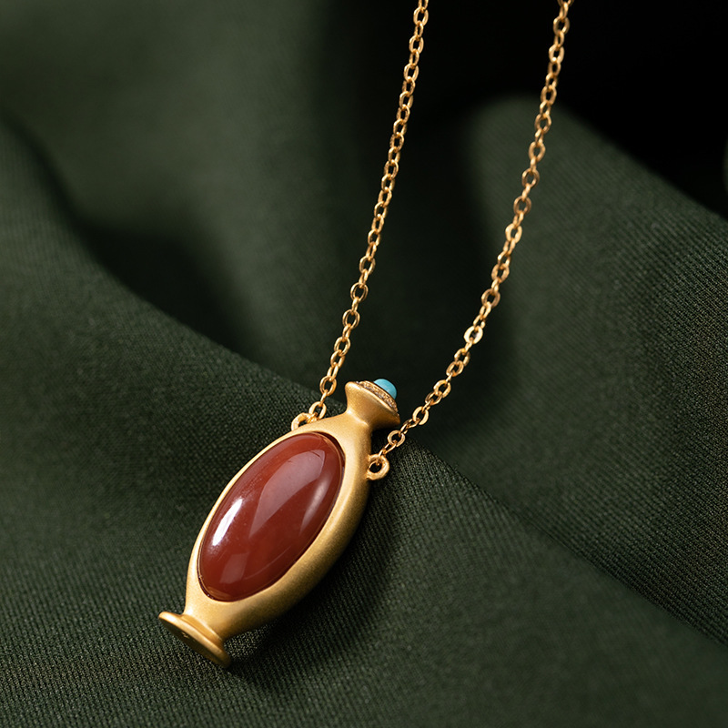 silver S925 pure silver gold-plated South Red Agate personality vintage classic vase high grade lady pendant set chain