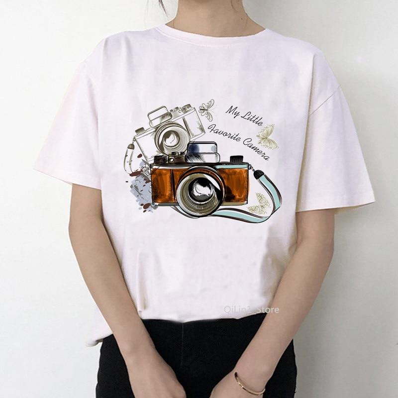 Retro Camera T-shirt Female Watercolor Flowers Camera Printed Vintage Tee Shirt Femme White T Shirt Graphic Tshirt Tops Clothes