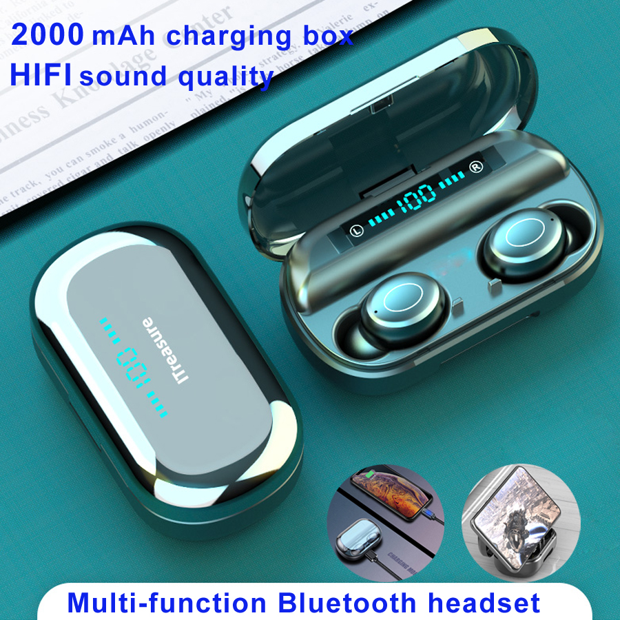 V9 Bluetooth 5.0 Earphone Wireless Earphones 8D Stereo Sport Wireless Headphones Mini Earbuds Headset With Dual Mic 2000 MAh Box