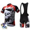 2020 novo padrão do crânio dos homens roupas de ciclismo verão respirável kit manga curta bib shorts mtb ropa maillot wear