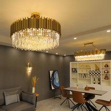 Modern Crystal Gold Chandelier Lighting LED Lamp Living Room Bedroom Decor Chandeliers Kitchen Island Indoor Light Fixtures