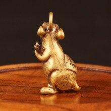 Vintage Glück Ratte Maus Statue Figur Messing Charm Reich Reichtum Amulett Mini