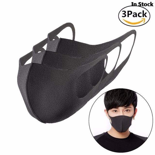 Adult Anti Flu Windproof Mouth Mask 3D Fashion Black Color Reusable Earloop Washable Dust Soft Breathable Anti-virus Face Mask