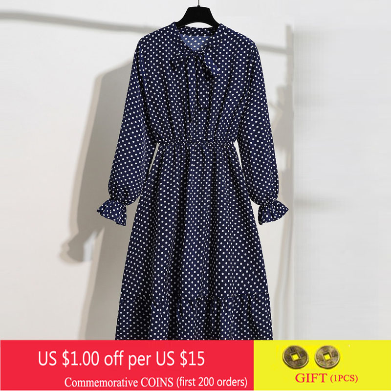 Bow Ruffle Shirt Dress New Spring Long Sleeve Office Dress Women Vintage Floral Print Dress Sweet Chiffon Midi Korean Vestidos