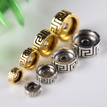 20pcs/lot Vintage Buddhism Symbol Flat Wheel Loose Beads 6 8 10 12mm Tibetan Gold Metal Beads Prayer Spacer DIY Jewelry Findings 1