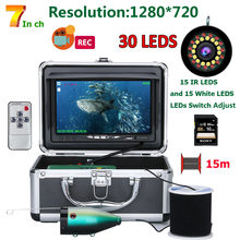 7'' HD 1080P DVR Fish Finder Underwater Fishing Camera HD 1280*720 Screen15pcs White LEDs+15pcs Infrared Lamp(China)