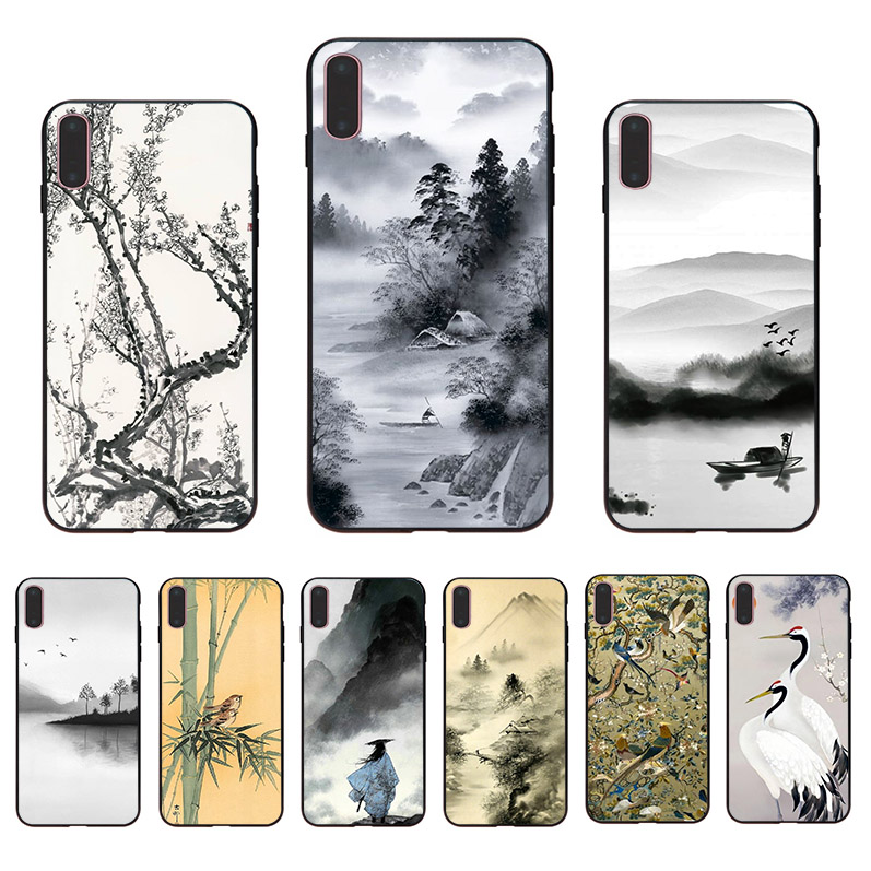 Oriental art ink printing soft TPU phone case for iphone 11 pro max cover XS X XR 8 plus 7 6S 6 5 5S SE 10 shell Unique Coque