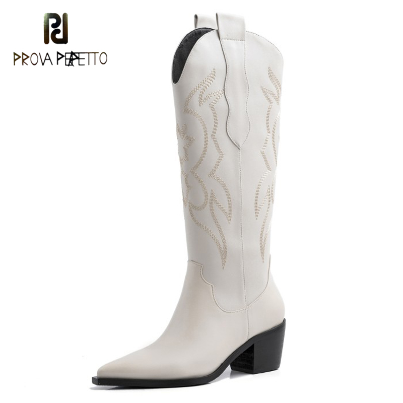 2020 With Tall Canister Boots Knight Leather Embroidery Boots Tide Female Thick With Pointed West Cowboy Boots  Off White Shoes