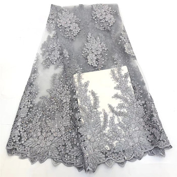 African Lace Fabric Mesh Lace Fabrics 2020 High Quality lace Nigerian French Tulle Lace with Stones Net Lace Fabric  ro16-2