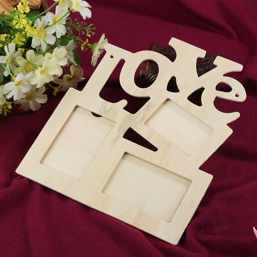 1 Pza DIY marco de fotos de madera con forma de amor Marco de foto familiar Porta Retrato raymen Marco de decoración de escritorio para el hogar Dec