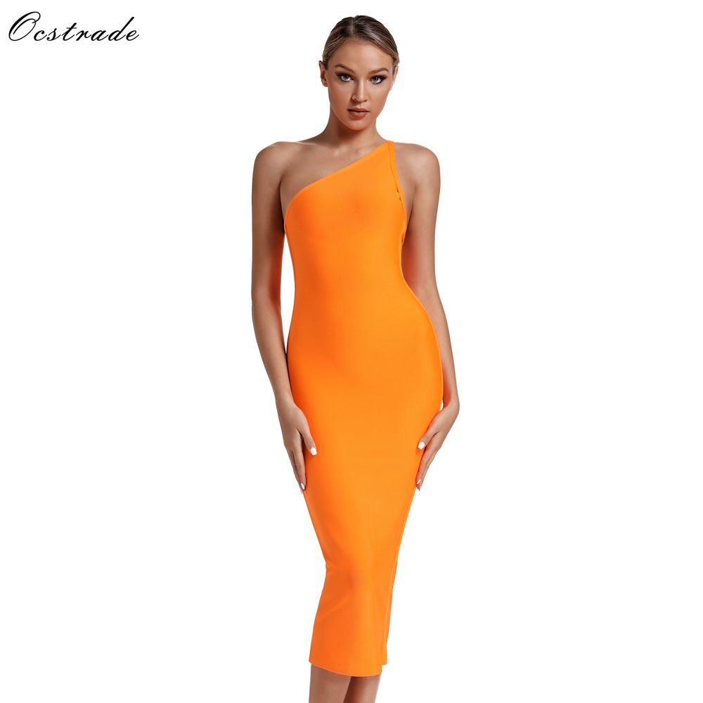 Ocstrade High Fashion Women 2019 New Summer One Shoulder Bandage Dress Orange Sexy Midi Bandage Dress Bodycon Party Club Dress in Dresses from Women 39 s Clothing