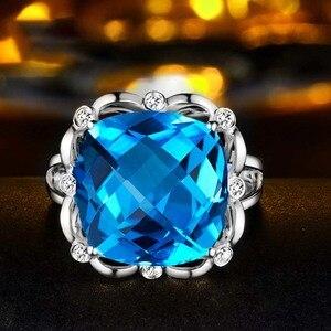 Image 3 - SLFD الطبيعية توباز 18K الذهب الخالص 2019 جديد حار بيع خاتم المرأة شكل قلب خاتم للسيدات امرأة مجوهرات حقيقية