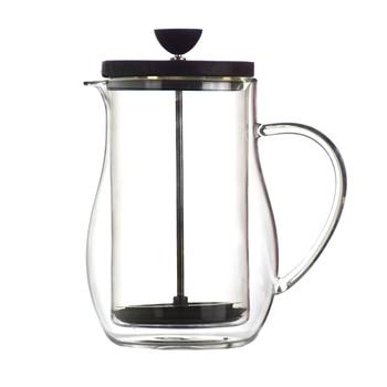 Wysokiej jakości podwójne szyby 350/600ML kawy prasy francuskiej pokrywa drewniana tłok do kawy