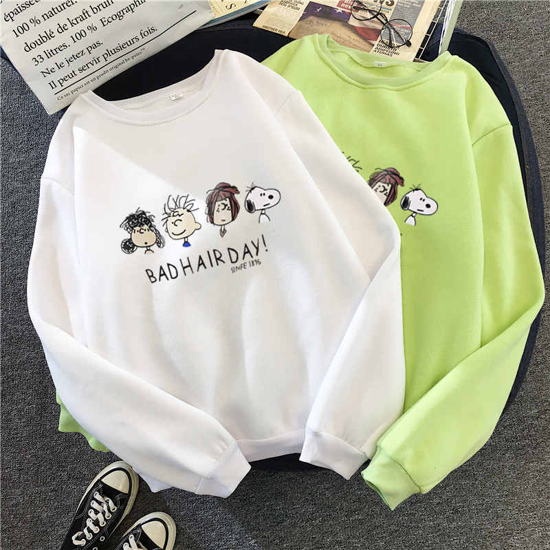 Bad Hair Day Cartoon Hoodies Womens Clothing Oversized Sweatshirt  Top Femme Autumn Winter New Harajuku Tee For Female Mujer