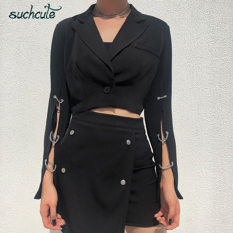 SUCHCUTE Metal Chain Blazer Feminino Women Casual Jacket Harajuku Autumn 2019 Chaqueta Mujer Coats Female Adjustable Veste Femme