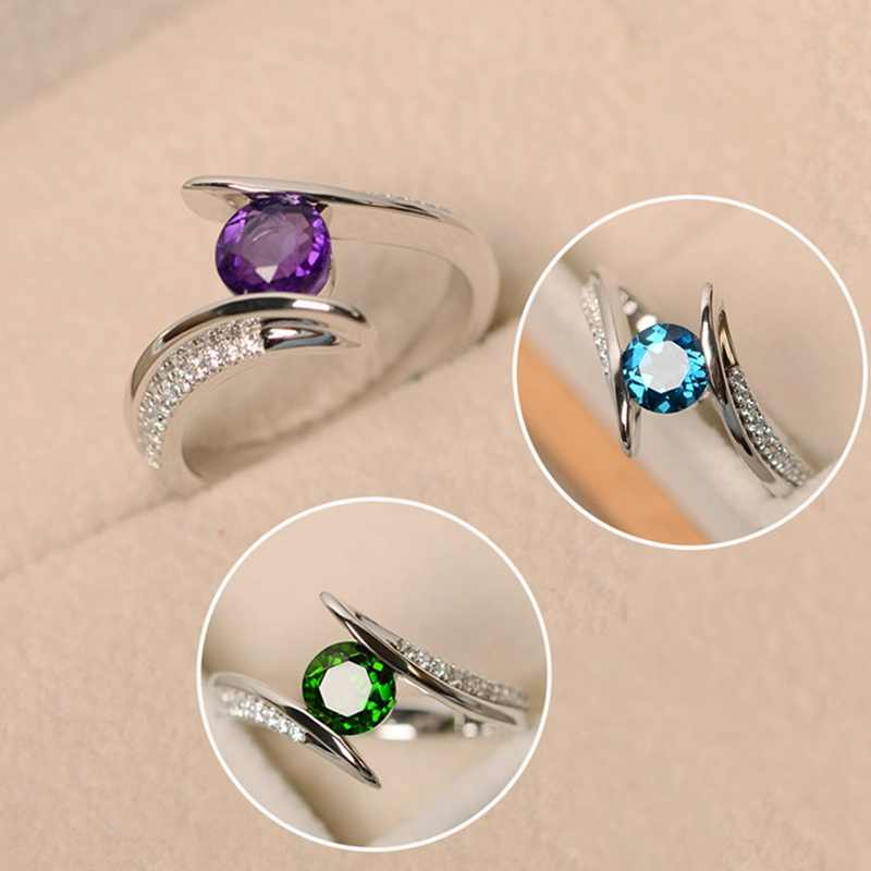 Cute Female Green Purple Zircon Ring Luxury Fashion Silver Filled Boho Jewelry Vintage Wedding Rings For Women