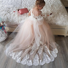 Short Sleeves Flower Girl Dresses with Appliqued Train Kids Couture Children Clothing
