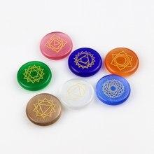 Pierres Chakra lapis lazuli 25mm, 7 pièces, symboles gravés, pierre polie en cristal Reiki, pierre de guérison, divination Wicca