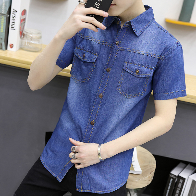 2017 Summer New Style MEN'S Short-sleeved Denim Shirt Teenager Korean-style Slim Fit Casual Shirt