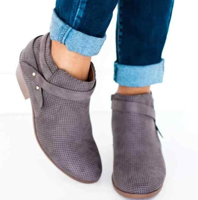 Sonbahar Ayakkabı Kadın Kısa Ayak Bileği Toka Çizmeler Sivri Burun Klasik rahat ayakkabılar Deri Chaussure Femme Escarpins Botları
