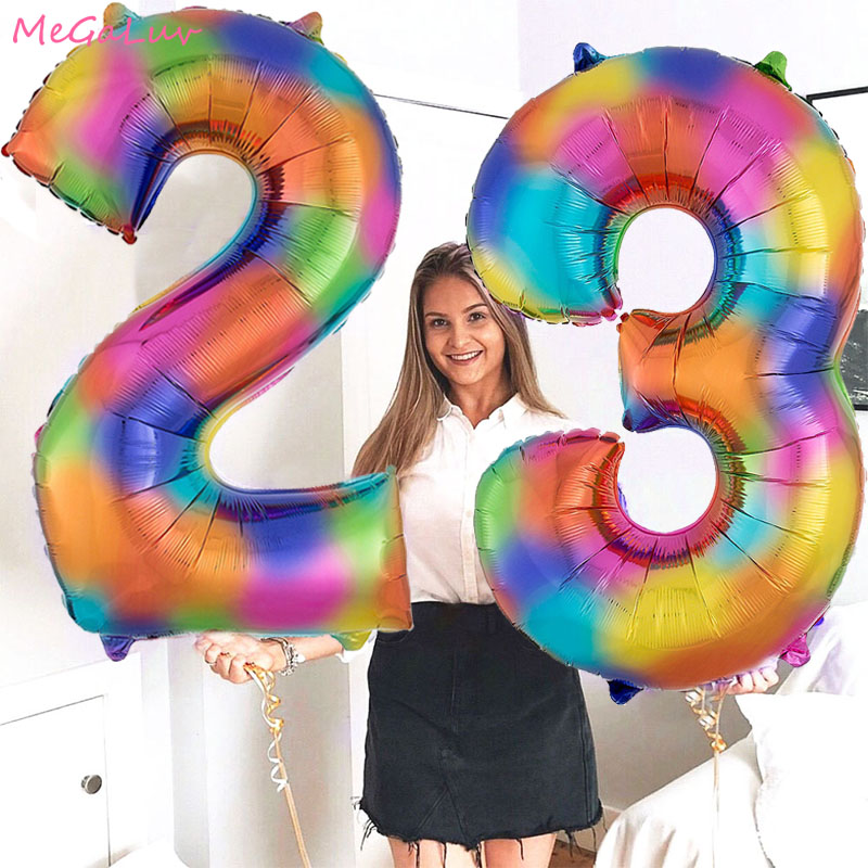 40-дюймовые фольгированные шары с радужными цифрами, украшение для свадьбы, дня рождения, большой цифровой фотошар, товары для детского праз...