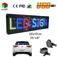 12V Car WIFI LED display board multicolor 26x 8 Programmable LED Scrolling Message Display Indoor Board P5 full color LED sign