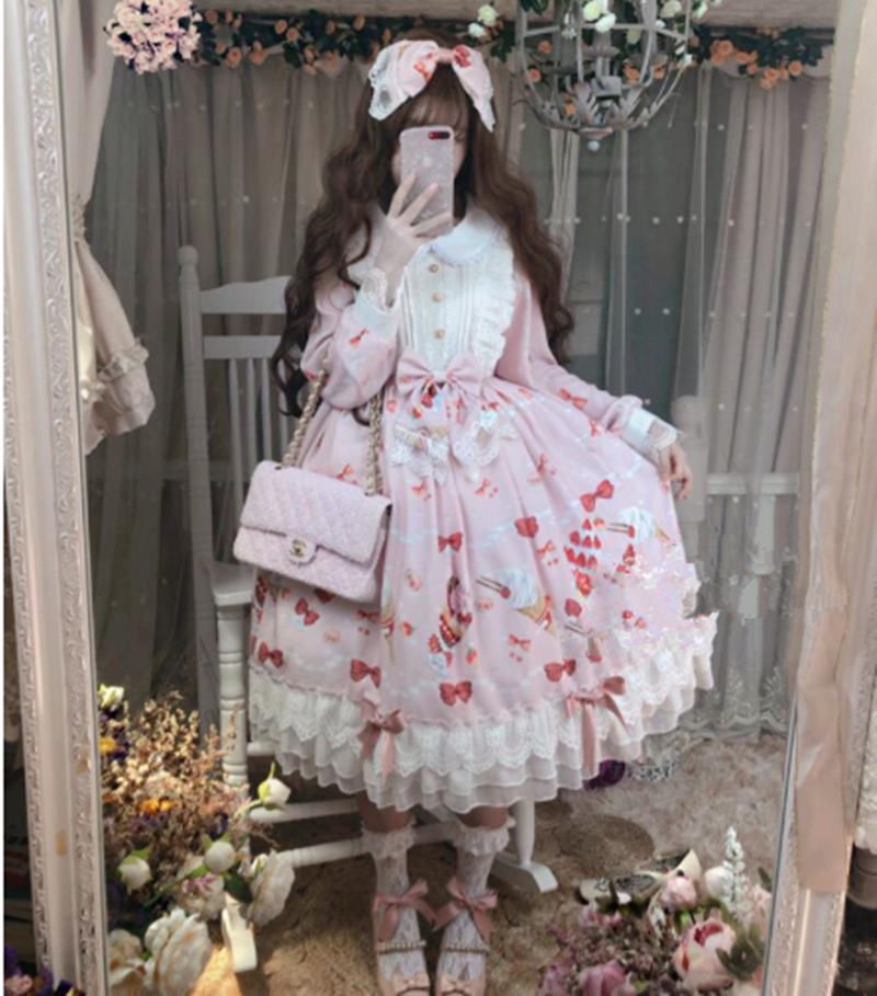 Cute Pink <font><b>Lolita</b></font> Dress Strawberry Sweety Print Peter Pan Collar Long Sleeve Lace Bowknot <font><b>Lolita</b></font> Princess Loli Lol Girl Dresses image