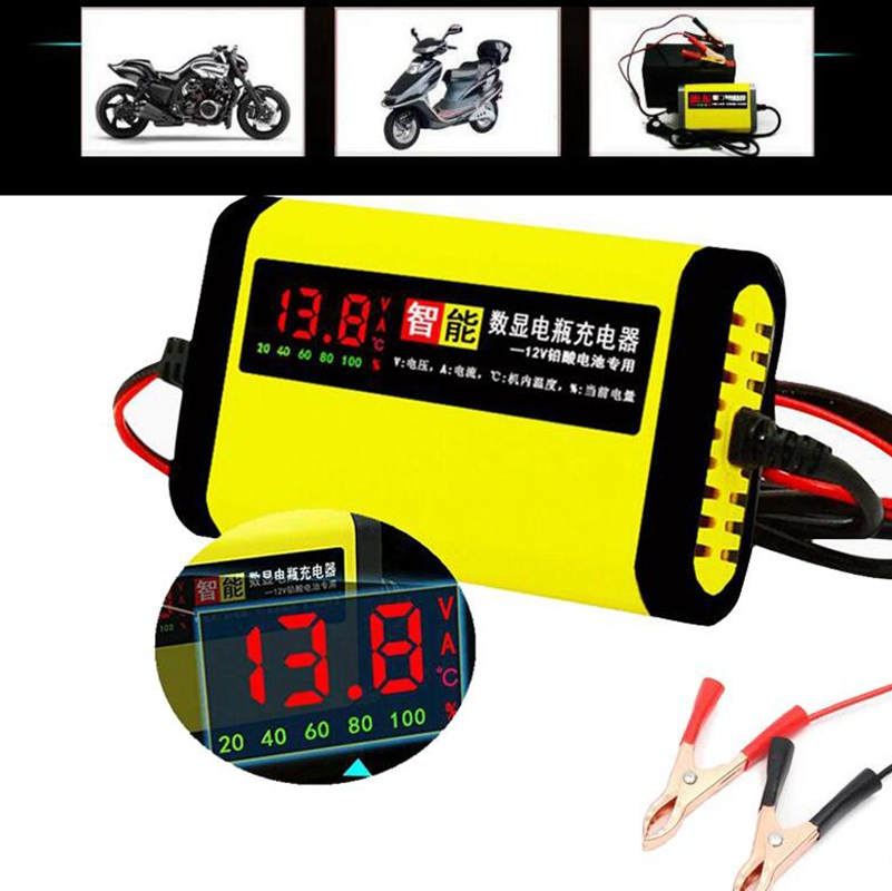 <font><b>12V</b></font> 2A LCD Display Smart Charger For Motorcycle Car <font><b>Battery</b></font> Full Automatic Charging Adapter <font><b>Lead</b></font> <font><b>Acid</b></font> AGM GEL <font><b>12V</b></font> AC110V 220V image