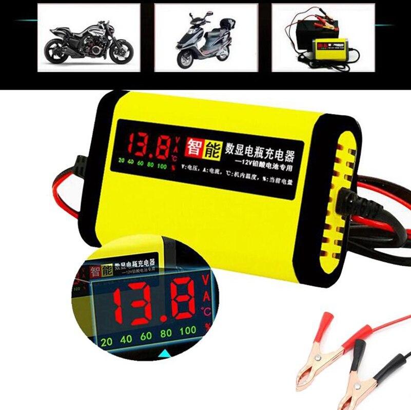 12В 2А ЖК-дисплей умное зарядное устройство для мотоцикла автомобиля батарея полностью автоматический зарядный адаптер свинцово-кислотный ...