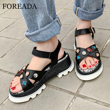 FOREADA Women Sandals Real Leather Platform Wedges High Heel Shoes Snake Print Buckle Strap Sandals Crystal Open Toe Lady Shoes colorful crystal women shoes ankle peep toe high heel buckle newest real photo sandals metal buckle platform shoes bling hotsale