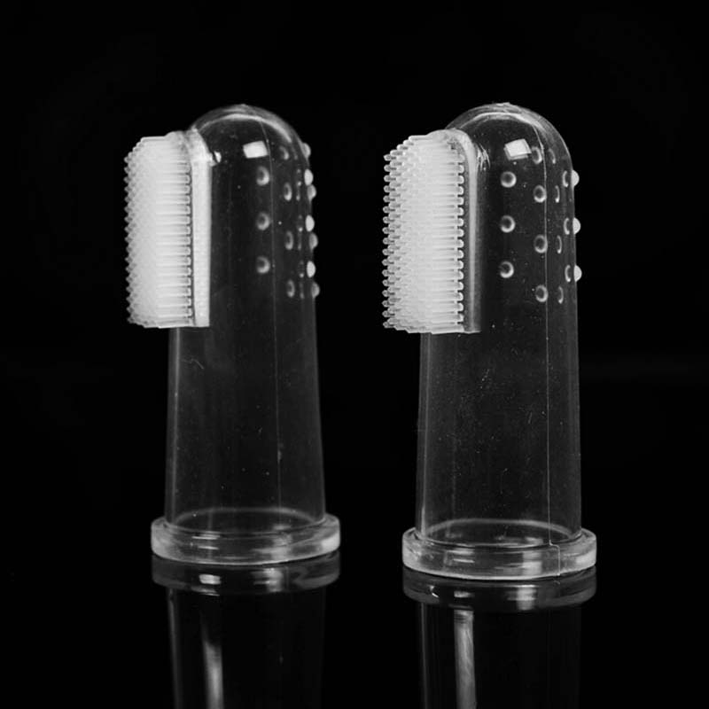 Galleria fotografica New Hot Selling Super Soft Pet Finger Toothbrush Teddy Dog Brush Bad Breath Tartar Teeth Tool Dog Cat Cleaning Supplies 2019
