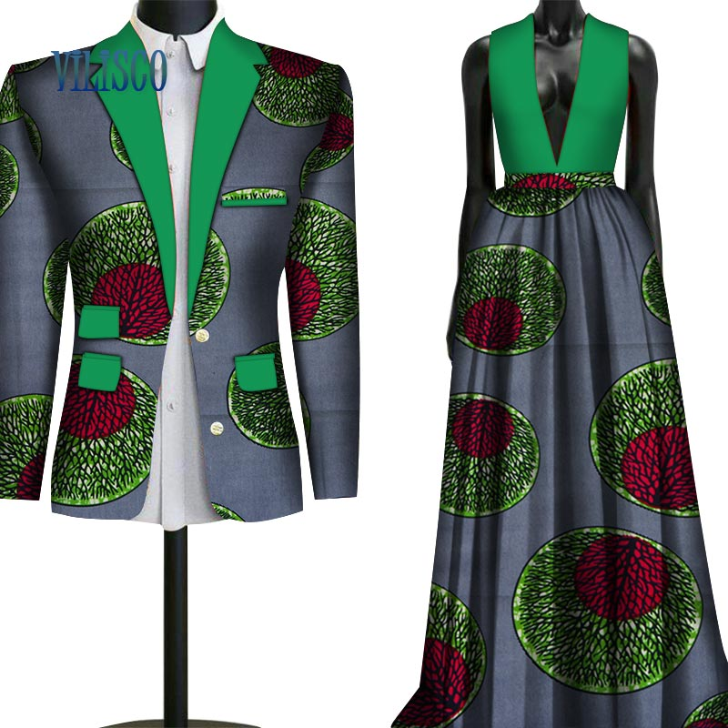 Fashion Sweet Couple Clothing Flowers Men's Suits & African Print Dresses For Women Bazin Riche Lovers Couple Clothes WYQ79