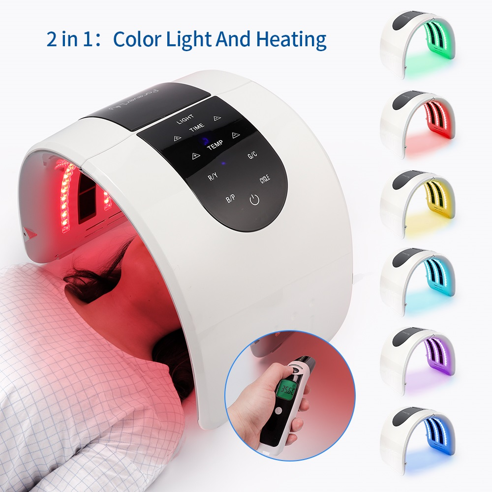 2 IN 1 Foldable 7 Color LED Photon 30 60℃ Heating Threapy Face&Body Mask Machine Salon Home Use Skin Rejuvenation Acne Skin Care