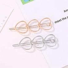Korean fashion love metal hair clips Simple hollow three peach heart bangs clip hairpin sweet girl for women