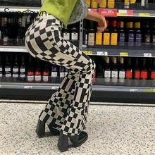 Sweetown Schachbrett Plaid Y2K Jogger Frauen Niedrigen Taille Flares Hosen Streetwear Vintage E Mädchen 2000s Ästhetischen Hosen Harajuku