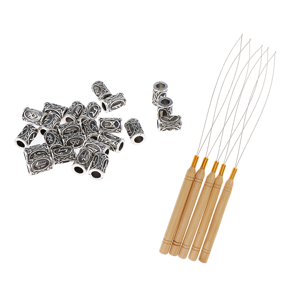 24Pcs Norse Viking Rune Dreadlocks Beads Metal Hair Beards Pendants Rings With 5pcs Hair Extension Loop Needle Threader Hooks