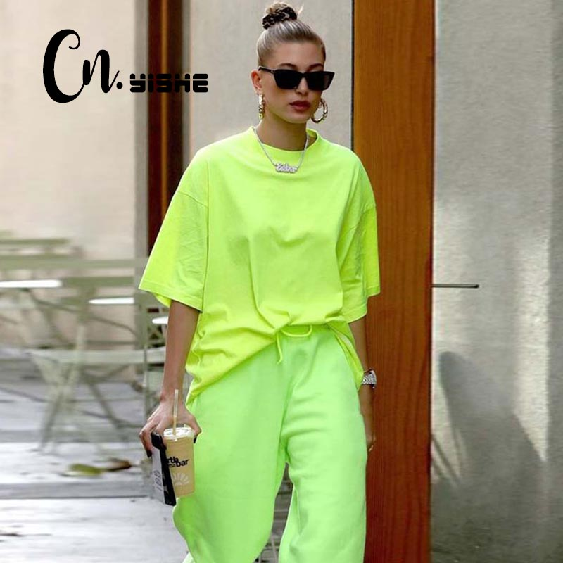 CNYISHE 2019 Autumn Long Loose Tops Oversized T-shirt Women Fashion Neon Green Casual Sexy O-neck Tees Women T Shirts Female Top
