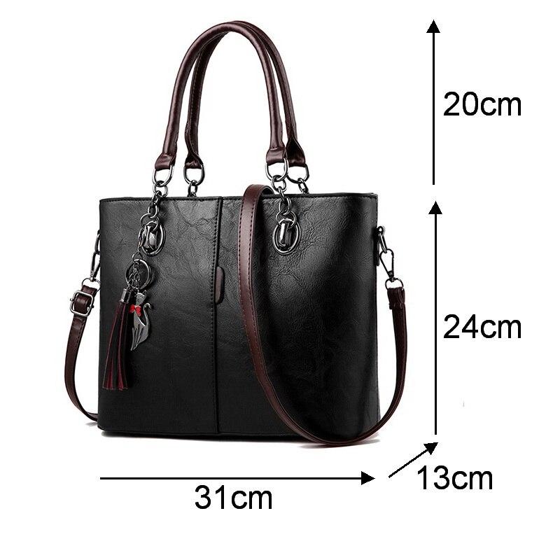 Image 5 - Gradosoo Vintage Tote Bag For Women Leather Handbag Large Capacity Shoulder Bag Women Top Handle Bag Messenger Bag Female HMB647-in Top-Handle Bags from Luggage & Bags